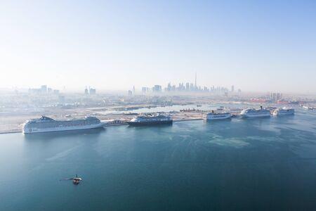 docking: United Arab Emirates, Dubai, 03122015, Dubai cruise port terminal, port rashid. Cruise ships docking.
