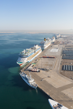 sea port: United Arab Emirates, Dubai, 03122015, Dubai cruise port terminal, port rashid. Cruise ships docking.