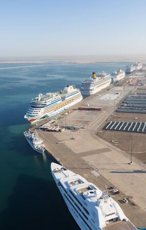 ariel: United Arab Emirates, Dubai, 03122015, Dubai cruise port terminal, luxury cruise ships docking at dubai cruise port, UAE, shot from an ariel view