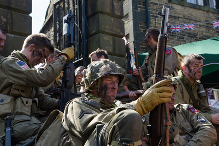 takeover: Howarth, England, 0806.2014, Howarth 1940s weekend town takeover event.  American soldiers taking a break
