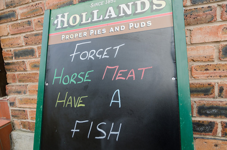 scandal: Manchester, England, 06042013, Horse meat supermarket scandal, clever advertising from a fish and chip shop Editorial
