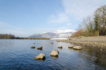 blustery: The Lake District, Keswick, England, 01172016, Winter lakeside view with snowy mountains in the background Stock Photo