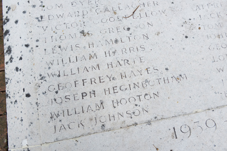 world war 1: Thornton Cleveleys, England, 07142014, Thornton ICI war memorial, for soldiers who lost their lives in world war 1 and world war 2.