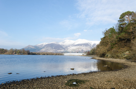 blustery: Winter lakeside view with snowy mountains in the background