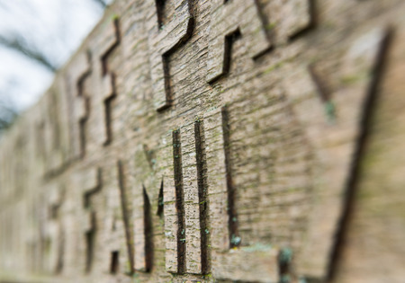 chiseled: Hand carved chiseled letters on an old wooden bench covered in moss