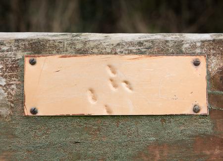 plaque: blank Rustic weathered metal plaque Stock Photo