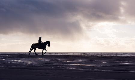 femme a cheval: Silhouette d'un cheval de femme à cheval libre sur une plage couvert de pourpre au coucher du soleil Banque d'images