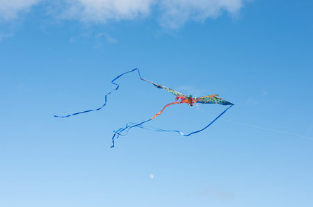 freeing: Mythical dragon kite flying in a cloudy sky on a bright sunny day