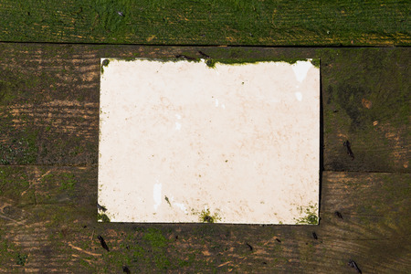 camoflauge: blank Rustic weathered beach warning sign on a wooden sea defence wall.