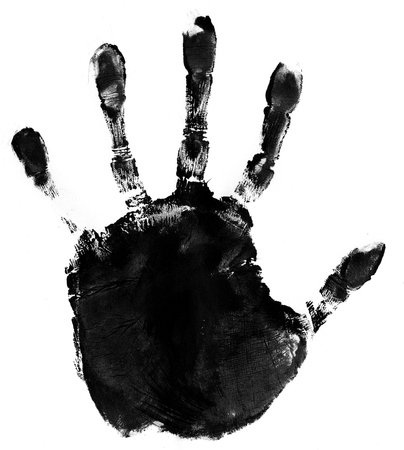 hand print: ink hand print on white paper