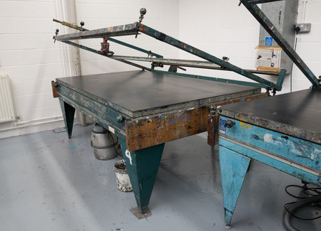 silk screen: Metal vacuum hand operated vintage screen printing tables