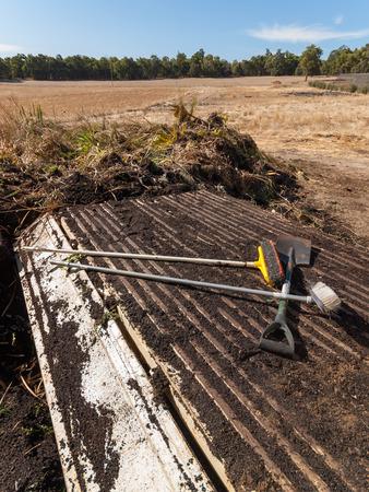 composting: Trailer delivering soil and plants for composting