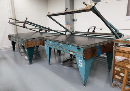 Metal vacuum hand operated vintage screen printing tables