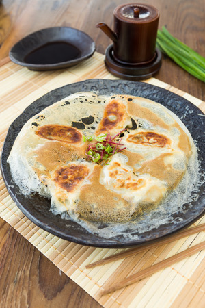 pan fried: Chicken Gyoza, japanese pan fried dumplings served on a rustic plate.