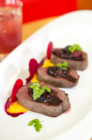 venison: Organic Venison served with fresh raspberry raspberry sauce, beetroot slices and pumpkin puree, on a white plate. Stock Photo