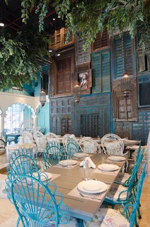 asian house plants: Dubai, United Arab Emirates, 04292016, House of Curry indian restaurant interiors, Dubai, JBR, The Walk Editorial