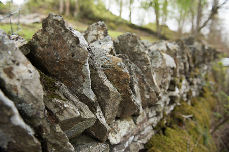 dry stone: Old dry stone wall in the english countryside vanishing into the distance, with shallow depth of field