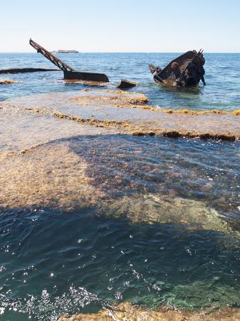 shipwreck: Rottnest island, Western Australia, 05052015, Shipwreck in the water, off the beach on rottenest island.