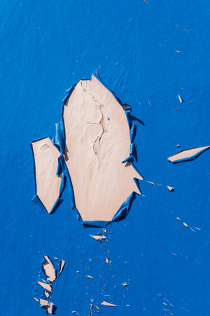 crackling: Blue dry peeling crackling chipped paint textured wall