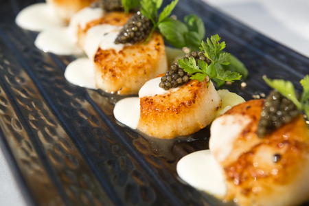 professionally: Delicious pan seared organic scallops, served with celery puree, caviar, parsley and white wine cream sauce. Presented professionally and shot with a shallow depth of field.
