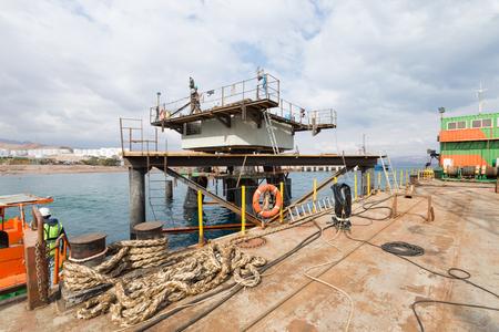Aqaba, Jordan, 10102015, Metal and concrete Jetty foundation construction at the Aqaba new port