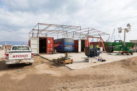 Aqaba, Jordan, 10102015, Foundation construction at the Aqaba new port Editorial