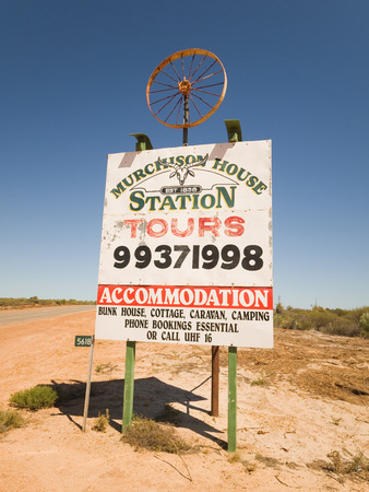 Kalbarri, Western Australia, 05052016 Murchison house cattle livestock station sign, outside murchison house cattle ranch in western australia. A national park, mainly consisting of wild goats, that are organic and free range. Editorial