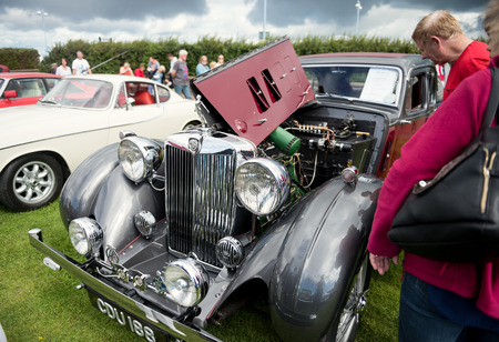 England, Morecambe, 08162016, a 1939 MG-WA Sports Saloon 2.5L car, Straight Six Cylinder Engine at the Vintage by the sea weekend at the Midland Hotel Editorial