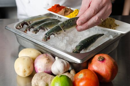 boned: Whole organic fresh mackerel fish sitting on a bed of ice in a metal tray. The fresh fish are being prepared for filleting and de boning. Stock Photo