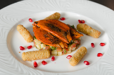 Organic tandoori Mackerel fish fillets, marinated in a vibrant orange tandoori curry sauce, prepared on a white plate with potato, pomegranate and lime wedges.