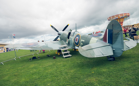 morecambe, england, 02052016, A full life size spitfire war plane replica with giant propellors, in a field on view to the public.