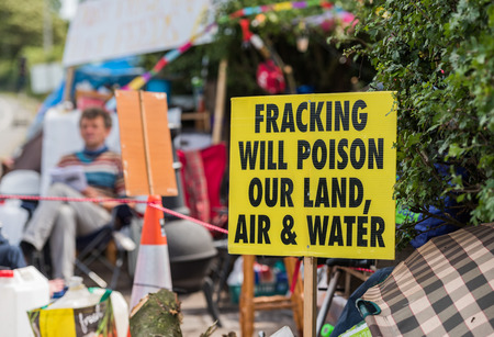 blackpool, england, 31072017 Anti shale gas fracking protestors outside the cuadrilla fracking site at Preston New Road in Lancashire.Fracking is dangerous.