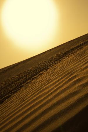 A huge golden sun shining through a sandstorm sky, over a beautiful golden desert sand dune. Sand textures. Stock Photo