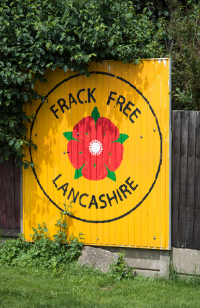 blackpool, england, 31072017 Anti shale gas fracking protestors signs outside the cuadrilla fracking site at Preston New Road in Lancashire.Fracking is dangerous. Editorial