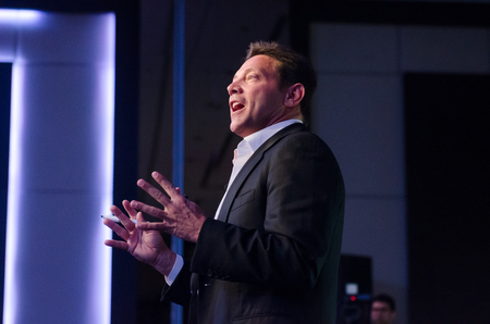 new york, usb, 05/07/2015, Jordan belfort  the real wolf of wall street, holds a seminar to reveal his life, telling his story about breaking the law and stealing millions of dollars through the penny stock stock market.
