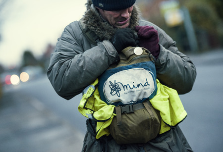 lancashire, England, 05052017, Wayne dixon and koda the Northern Inuit Dog walking around england cleaning up Street litter and fly tipping on the streets for charity. Wayne is raising money for the mental health charity MIND.