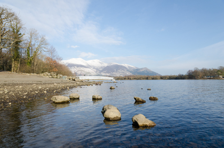 The Lake District, Keswick, England, 01172016, Winter lakeside view with snowy mountains in the background Editorial