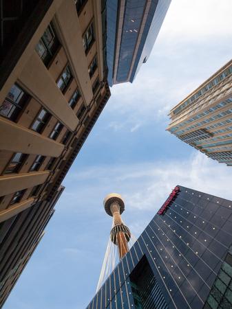 Sydney, Australia, 02102013, sydney tower eye viewed between city buildings from the street Editorial