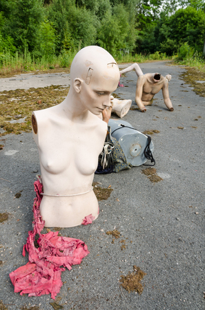 Lancashire, England, 06082013, Abandoned theme park mannequins left to decay Editorial
