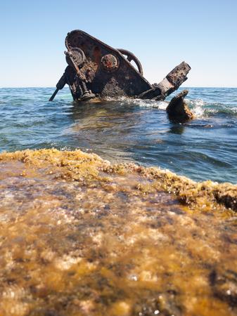Rottnest island, Western Australia, 05052015, Shipwreck in the water, off the beach on rottenest island.