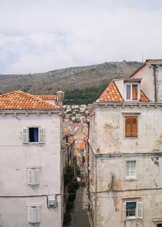 dubrovnik, Croatia, 06062016 Dubrovnik old town croatia, roof top view and mountains Editorial