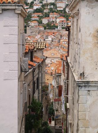 dubrovnik, Croatia, 06062016 Dubrovnik old town croatia, roof top view down a street Editorial