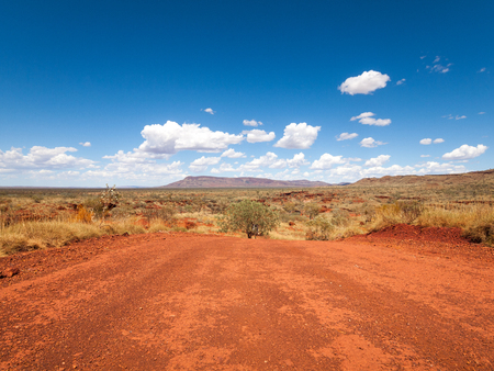 a wide shot of the harsh arid red landscape of the australian outback bush, with a vivid blue sky backdrop Stockfoto