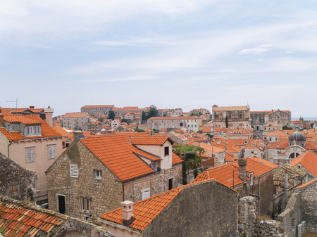 dubrovnik, Croatia, 06062016 Dubrovnik old town croatia, roof top view of churches and houses