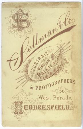 london, england, 05052018 A very old 1800 ornate victorian england photographers card. Sepia toned, black and white vintage memorabilia. Victorian type setting, ornate design Huddersfield.