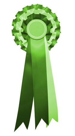 A stylish retro vintage Award rosette medal badge with ribbon in a green party color. isolated and cutout on white. Stock fotó - 114252430