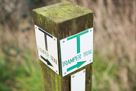 Tramper trail countryside walk marker point.  countryside path guiding. tramper navigation.