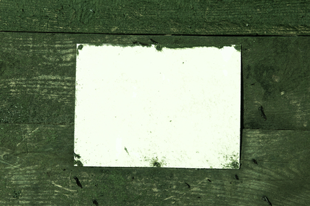 A blank Rustic weathered beach warning sign on a wooden sea defence wall. green algae and empty mock sign perfect for text and graphics. Empty rectangle. Stock fotó