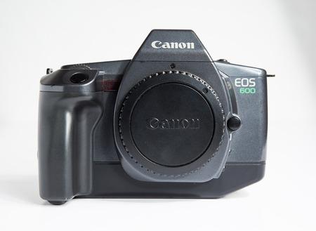 london, england, 05052019 Black Canon EOS 600 Classic 5 frames per second 35mm Film Auto focus SLR Camera Body for EF Lenses, Japanese. retro vintage classic film camera body with body cap.