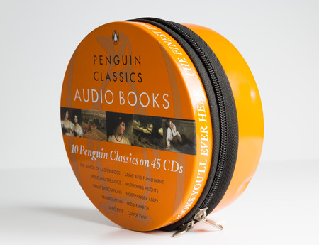 london, england, 05/05/2019 10 Penguin Audio Classics  on 45 CDs.  penguin audio books are world famous and high quality stories. limited edition finest books you will ever hear.
